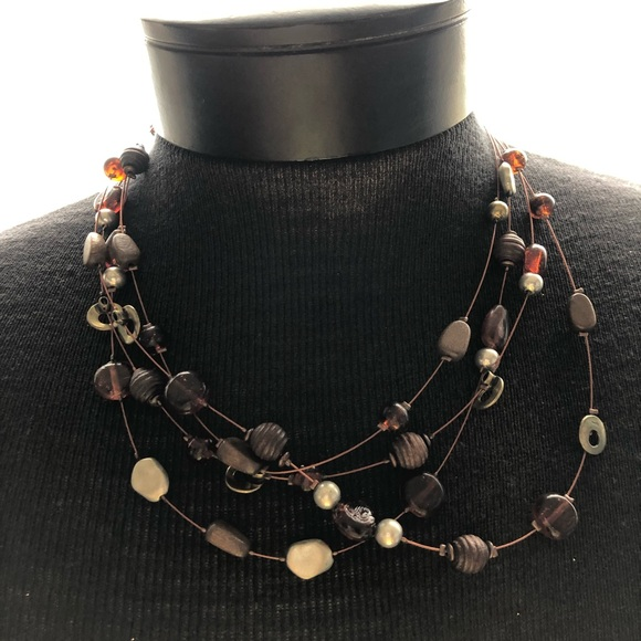 Jewelry - Multi-layered Necklace in Brown